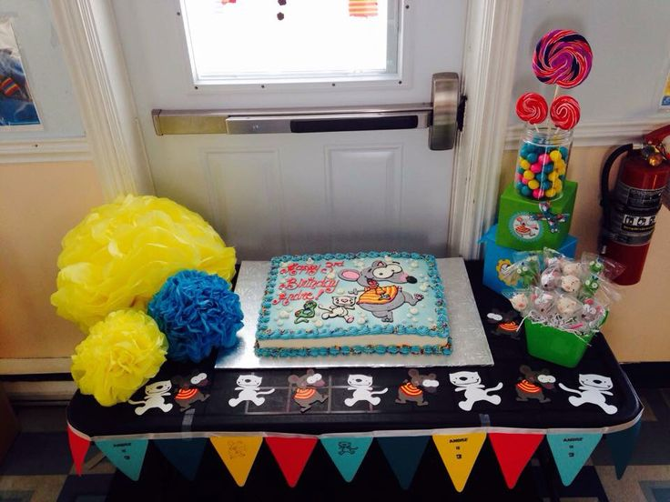 Toopy and binoo birthday party. The cake table