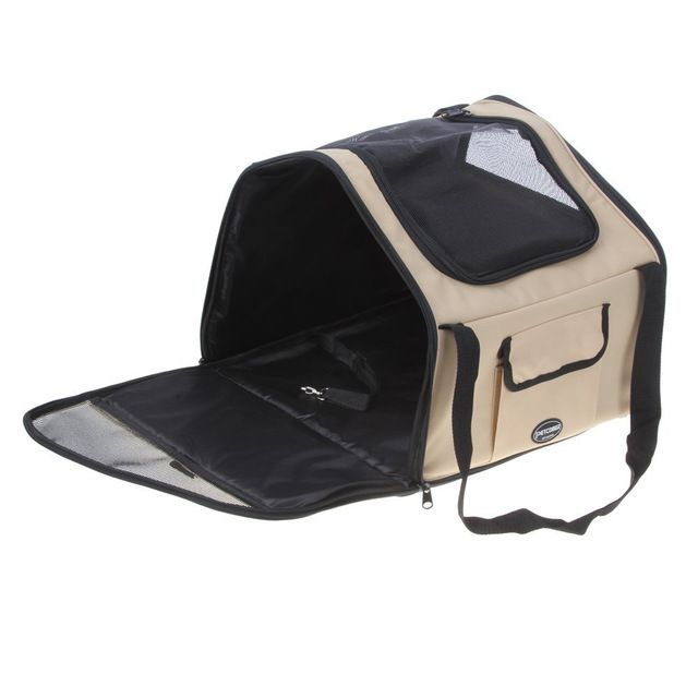 UESH-Petcomer Portable Pet Travel Carrier Dog Cat Puppy Car Seat Carrier Travel Tote Crate Bag (Beige, S:40*34*26CM) ** Read more at the image link. #DogBedsFurniture