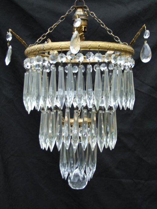 Edwardian 3 Tier Icicle Drop Chandelier. crystals. excellent condition. circa 1900