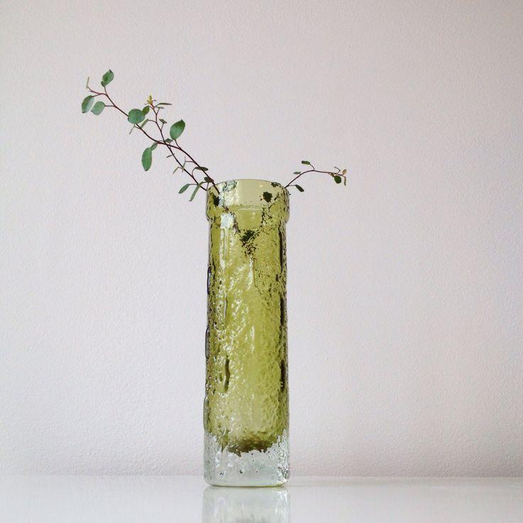 Vintage Riihimaki forrest green vase 1641, Designed by Tamara Aladin for Riihimaki/ Riihimäen Lasi 60s by ReOSL on Etsy