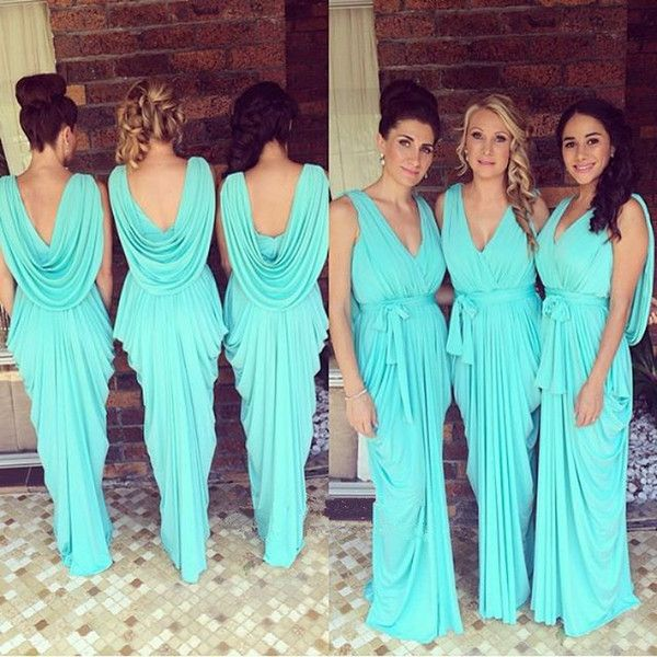 Glowing Teal / Turquoise Bridesmaid Dresses 2016 V-Neck Drapped Ruffles Chiffon Backless Junior Long Robe Demoiselle D'honneur