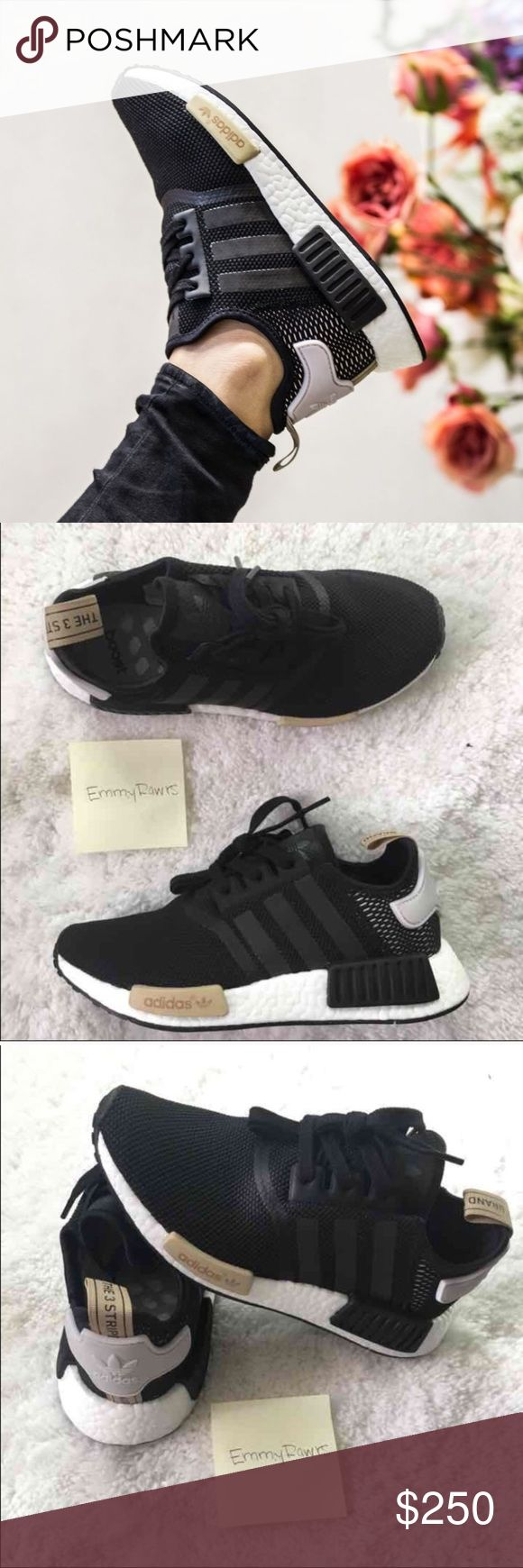 New in Box • LAST Adidas NMD Core Black Size 7.5 NO TRADES•••• New Women Adidas NMD. Featherweight sneakers with the adidas boost cushioning. Upper is made of suede and neoprene which makes these. Also have EVA foam plugs which provides more comfort for the underfoot. Have the classic 3 stripes.  Colorway : Core Black   #adidas #NMD #boost #women #yeezy White talc cream salmon pink Adidas Shoes Sneakers