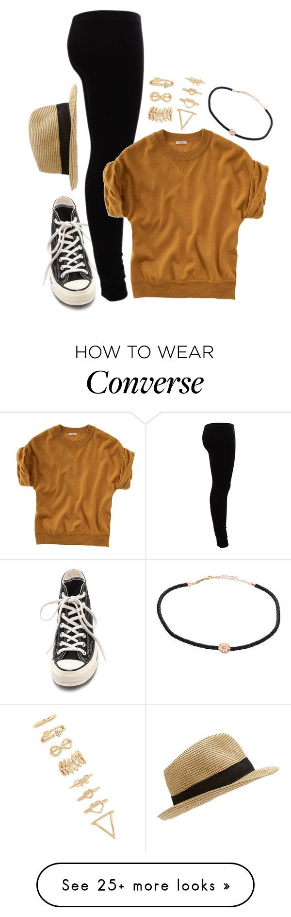 """You and me got a whole lotta history :)"" by weirdestgirlever on Polyvore featuring Converse, Forever 21, Jacquie Aiche, Gestuz and Madewell"
