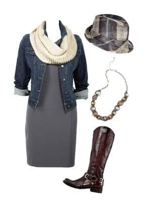 How to dress up a grey dress...don't like the hat or necklace but I love the outfit and boots.