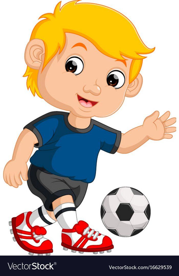 Cartoon Boy Playing Football Vector Image On Vectorstock Cartoon Boy Boys Playing Cartoon