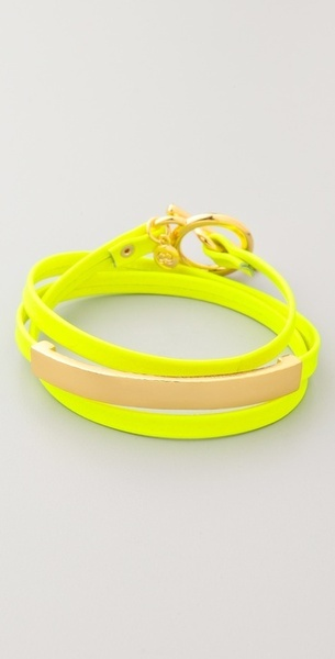Gorjana Graham Leather Bar Triple Wrap Bracelet in Yellow <3
