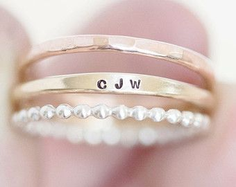 Personalized ring Personalized stacking by AdorablySimpleDesign