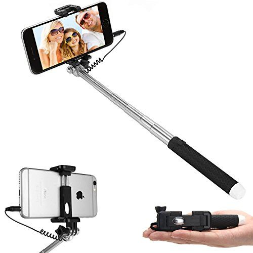 Selfie StickDealgadgets Extendable Supreme Mini All in One Wire Selfie Stick for iPhone 6 iPhone 5S Samsung Galaxy S6 S5Color Black
