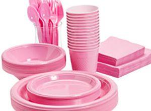 Stort udvalg af lyserødt engangsservice til din fest, temafest og barnedåb.