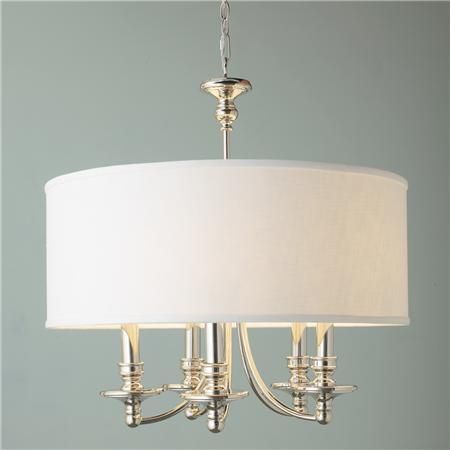 Springfield Linen Shade Chandelier  5 Light | Shades of Light - interesting combination of chandelier & drum shade, though perhaps a bit too traditional?