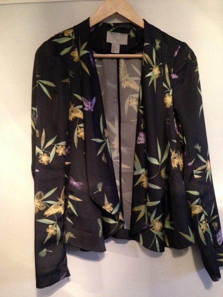 H&M WATERFALL JACKET Black Chinese Floral Design Kimono ...