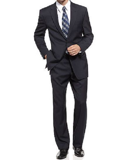 Michael Kors Mens Pant Suit Sz 40L 33W Navy Blue Wool Unfinished Hem Business  #MichaelKors #TwoButton