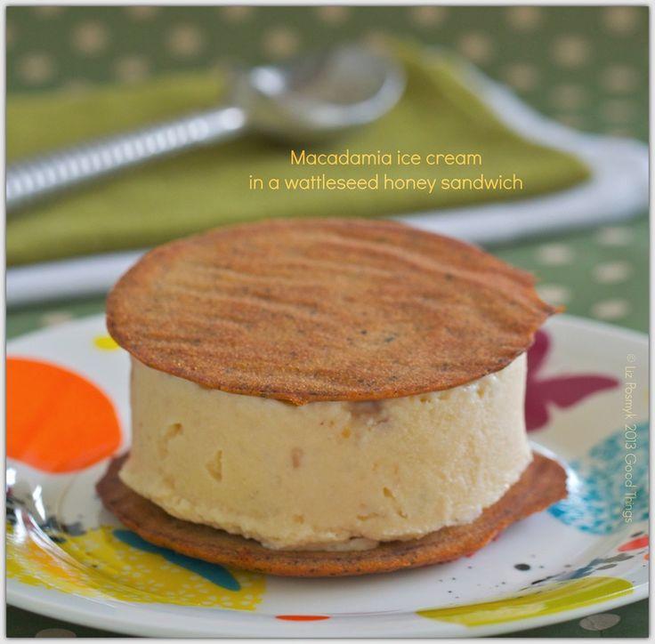 Macadamia ice cream in a wattle seed honey sandwich