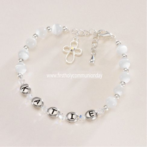 Holy Communion Name Bracelet - Rhodium Bead Girls Name & Cross - for Niece, Daughter, Granddaughter, Goddaughter, Sister or Friend - First Communion Gifts