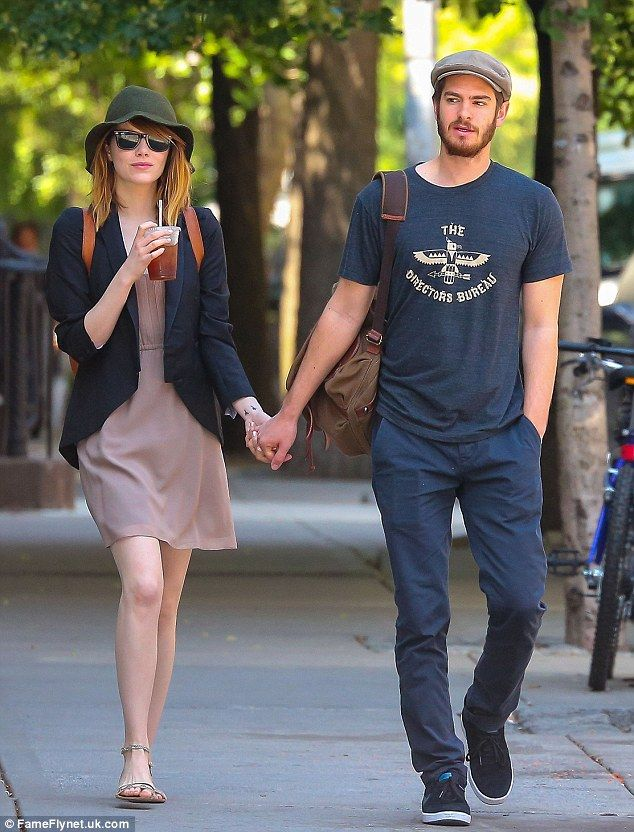 Happy couple: The Amazing Spiderman stars held hands after enjoying lunch at French bistro Café Cluny in West Village