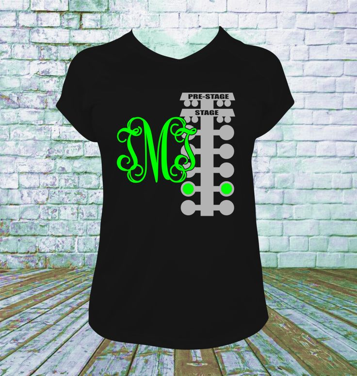 Personalized Drag Racing Tree with Monogram T Shirt. You choose your lettering and shirt colors. Picture shown is White Main Lettering and 2nd color Lettering is Fluorescent Green. This design is on t