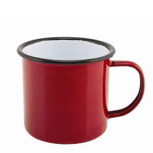 Falcon Enamel Mug Red 8cm 36cl. Sturdy enamel tableware range, for all occasions. Vitreous double coated enamel. Free delivery available.