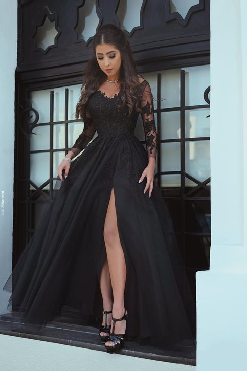 Elegant Black Prom Dresses Sweetheart Prom Dresses Lace
