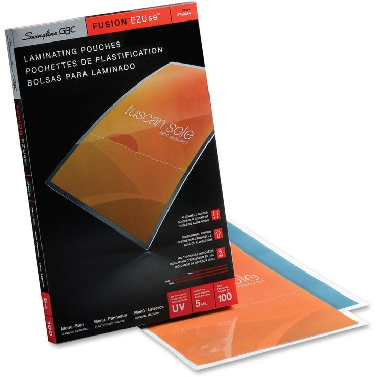 Swingline® GBC® EZUse™ Thermal Laminating Pouches, Menu Size, 5 mil, 100 Pack - Sheet Size Supported: Menu - Laminating Pouch/Sheet Size: 5 mil Thickness - Glossy - for Document - UV Resistant, Durable, Fade Resistant - Clear - 100 / Box