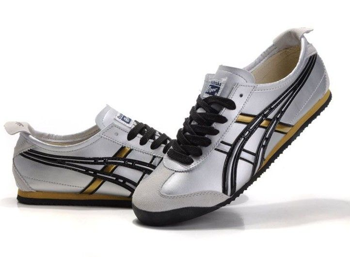 newest d9655 8b134 Mens Onitsuka Tiger Mexico 66 Shoes (Silver/ Black/ Gold ...