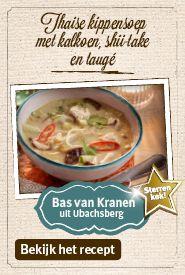 Heerlijk voorgerecht: Thaise kippensoep met kalkoen, shii-take en taugé - Jan Linders