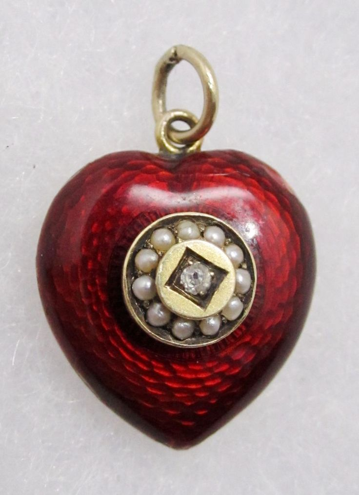 9k Gold & Guilloche Enamel Antique Victorian Locket Pendant Charm, Ruby Lane, Round green stone in center in other side, other side is plain gold