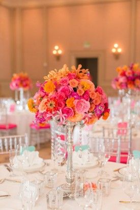 Pink And Orange Orchid And Rose Tall Centerpiece For Ballroom Wedding From  Virginia Wedding Salamander Resort By Katelyn James Photography
