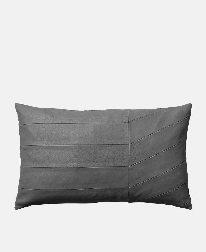 Coria Leather Cushion in Dark Grey