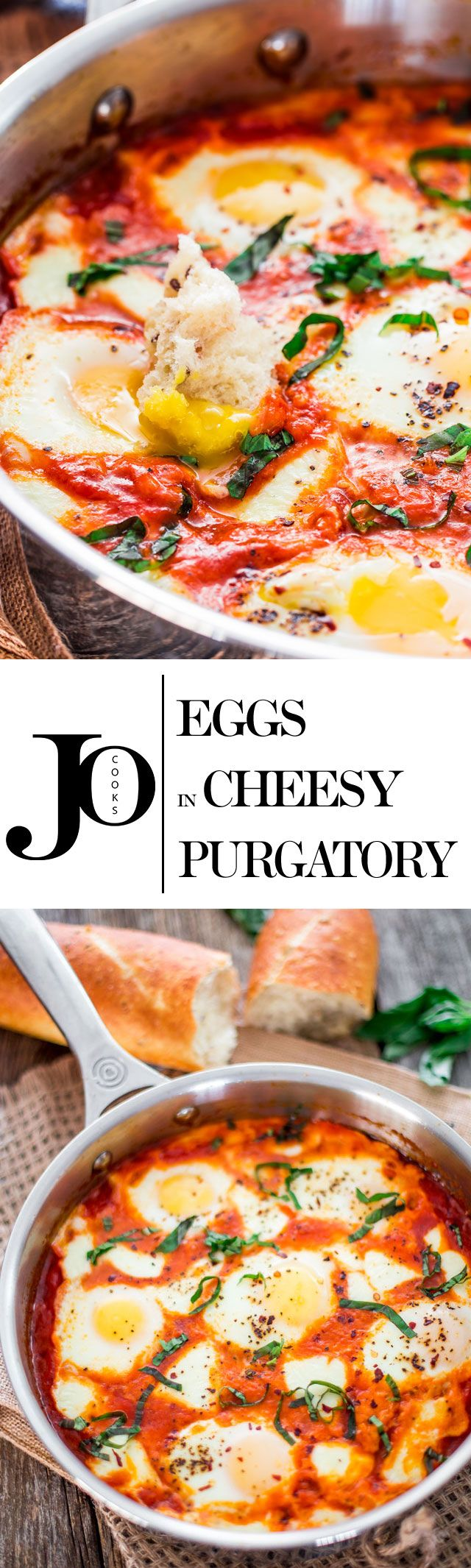 Eggs in Cheesy Purgatory - a spicy and savory breakfast also known as Shakshuka. Baked eggs in a delicious spicy tomato sauce and loaded with cheese, perfect start to any day!