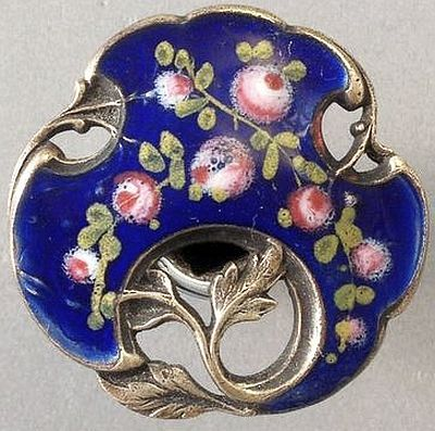 Antique Pierced French Enamel Button Great Scalloped Shape,