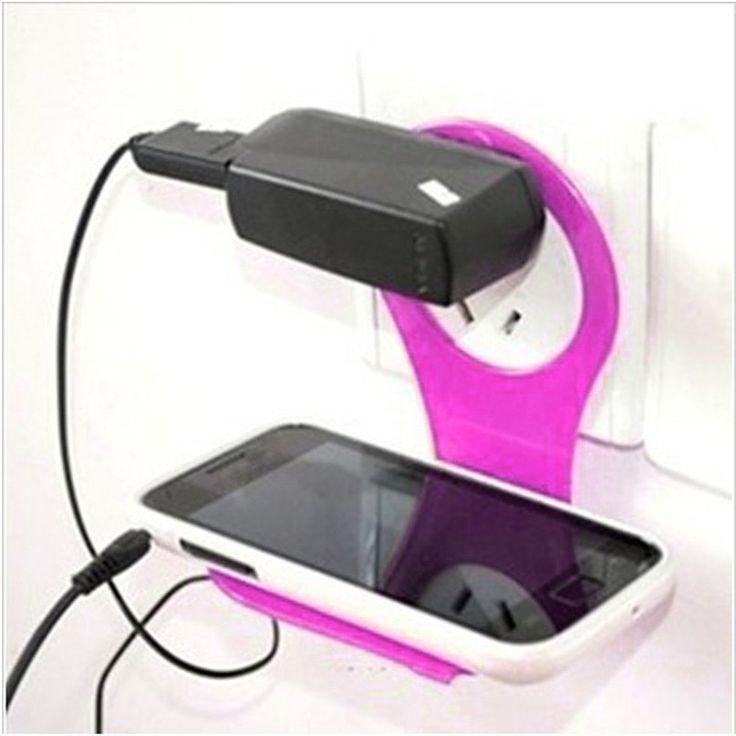 Rumah Lebih Luas Hot Menjual Gratis pengiriman Keselamatan Baru Linked Dinding Pengisian Rak Pemegang Busana Warna-warni Untuk Ponsel Charger Dec13