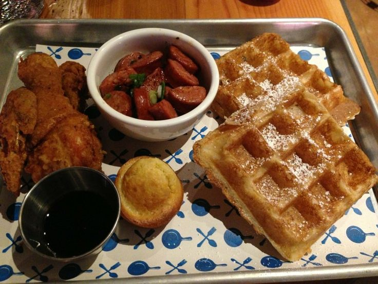 Victory Hall & Parlor SOMA #SF The Works - 2 pieces of fried chicken, waffles and a side of sausages | Yelp