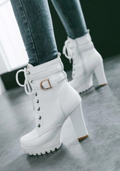 3366eec74110ec Weiß Schnürung Mit Gürtel Blockabsatz Plateau High Heel Stiefeletten  Elegantes Damen Winter Schuhe Short Ankle Boots