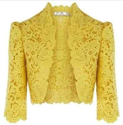 Luxurios Fashion Women embroidered bolero jacket cardigan yellow black size M