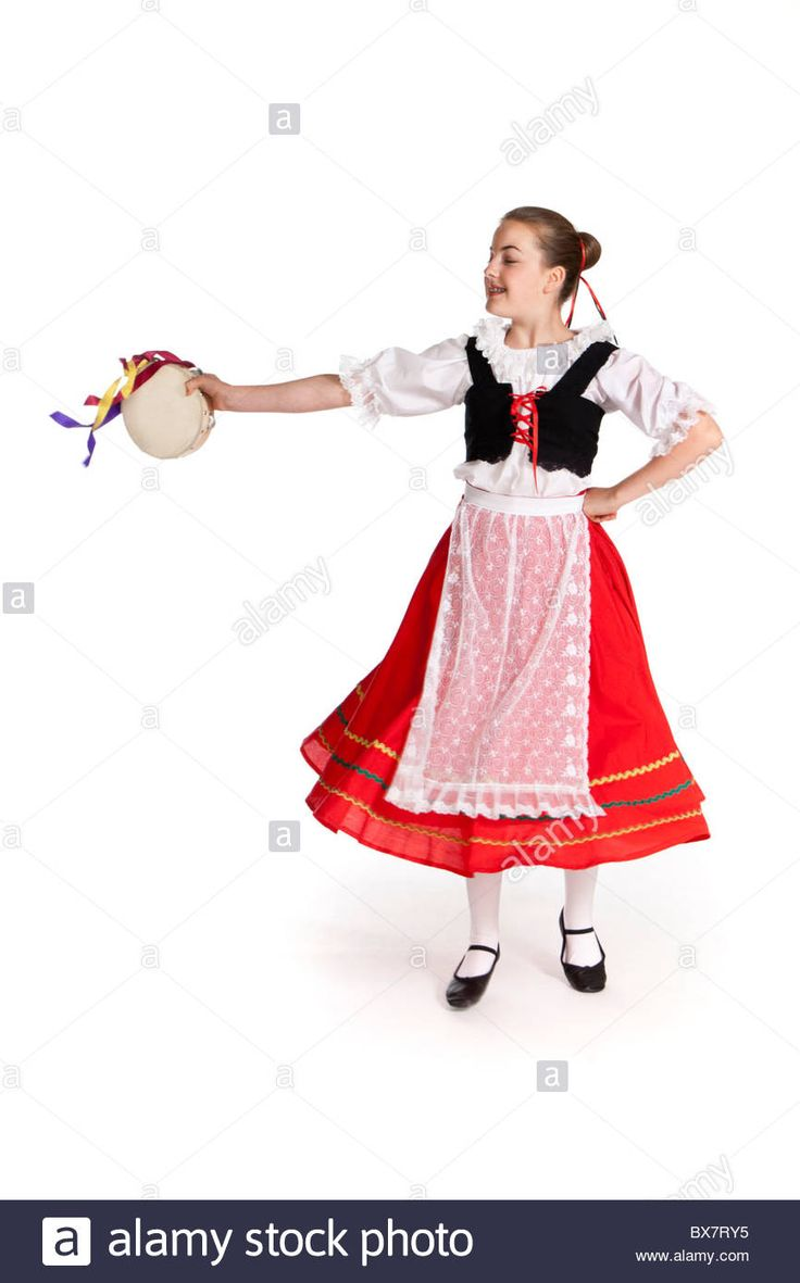 Download this stock image: Studio shot of young girl in colourful Italian national folk dancing costume - BX7RY5 from Alamy's library of millions of high resolution stock photos, illustrations and vectors.