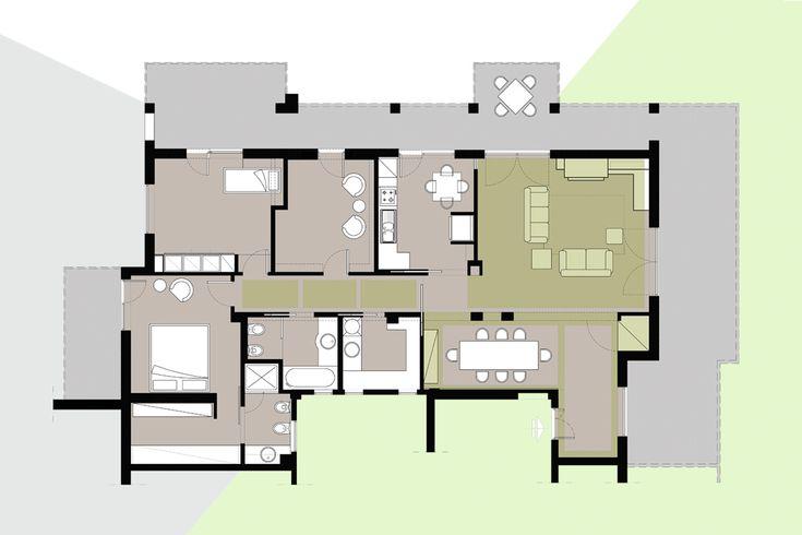 Appartamento al piano attico. Desiderio della committenza: avere spazi ampi, fluidi e trasformabili nel tempo. Obiettivo di officineMAMA: unire a queste richieste, l'integrazione tra aspetti tecnologici e architettonici.