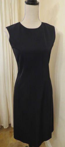 Prada Designer Black Stretch Sleeveless Dress with Side Slit, Sz 40 (6)