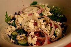 Classic Greek Salad with a close proximation of Pat & Oscar's dressing