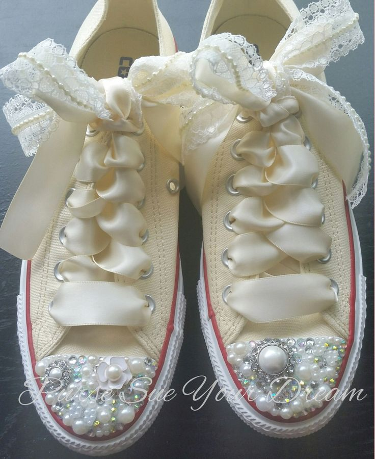 Custom Bride Converse Wedding Shoes - Pearl and Crystals - Pearls and Lace - Pearl Shoes - Swarovski Crystals by PurseSueYourDream on Etsy https://www.etsy.com/listing/240112190/custom-bride-converse-wedding-shoes