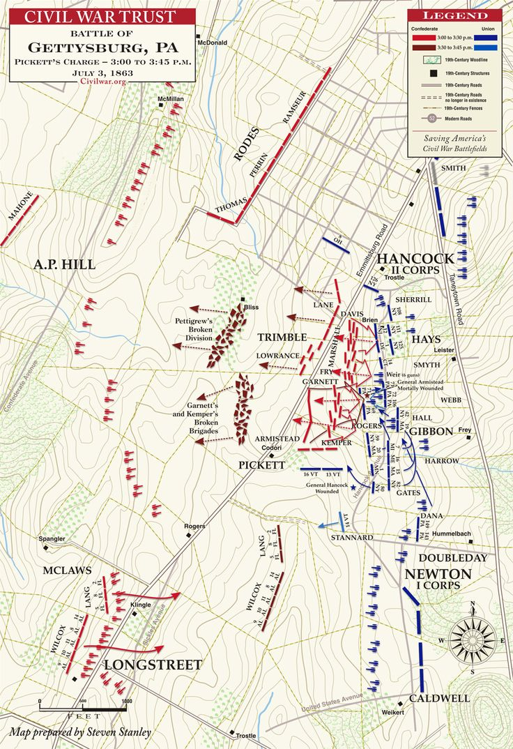 Gettysburg - Pickett's Charge - 3:00pm to 3:45pm