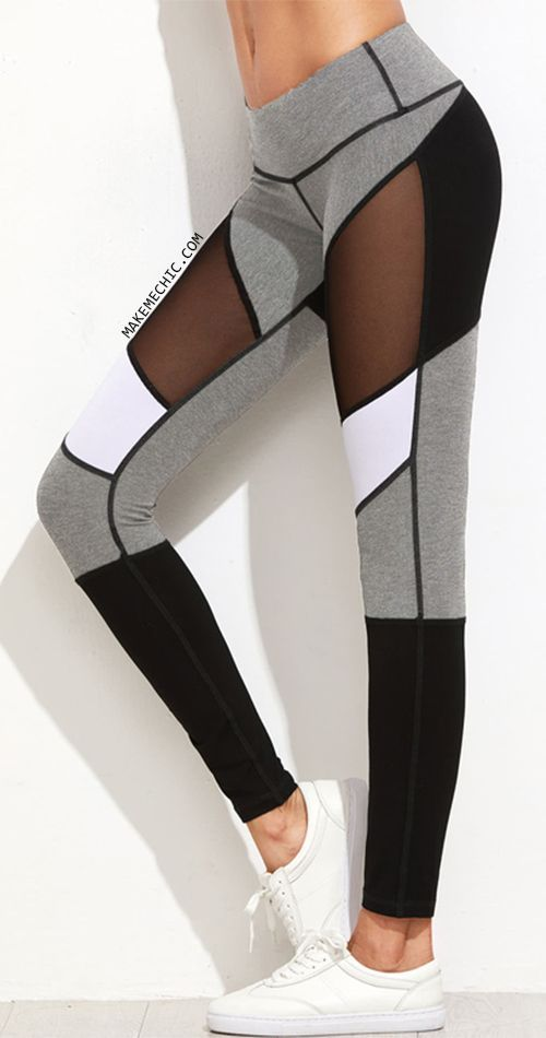 Color Block Mesh Insert Heather Knit Leggings