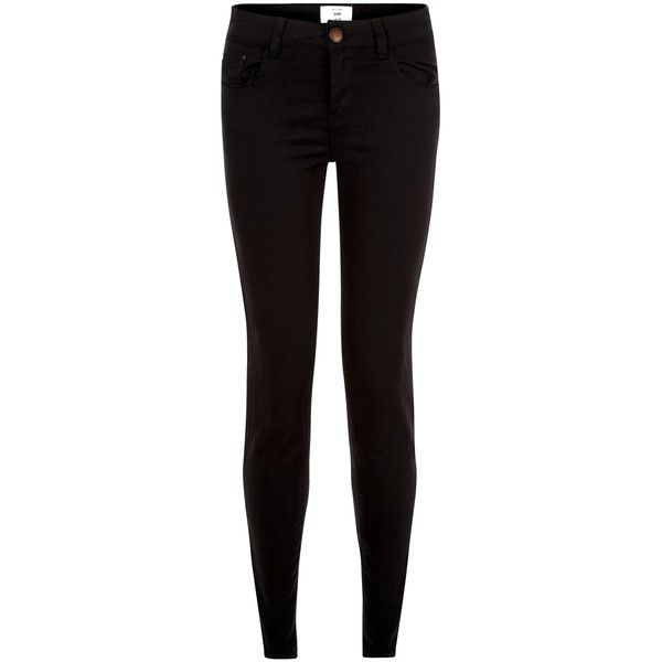 New Look Black Skinny Jeans ($19) ❤ liked on Polyvore featuring jeans, pants, bottoms, black, super skinny jeans, button-fly jeans, 5 pocket jeans, skinny fit denim jeans and zipper jeans