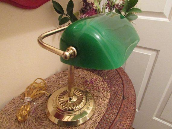 260 kr. Bankers Lamp  Vintage Bankers Lamp  Glass by SistersVintageAttic2