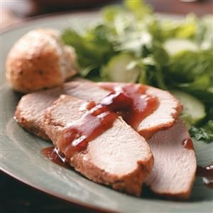 Slow Cooker Turkey with Cranberry Sauce Recipe -This is a very tasty and easy way to cook a turkey breast in the slow cooker. Ideal for holiday potlucks, the sweet cranberry sauce complements the turkey nicely. —Marie Ramsden, Fairgrove, Michigan