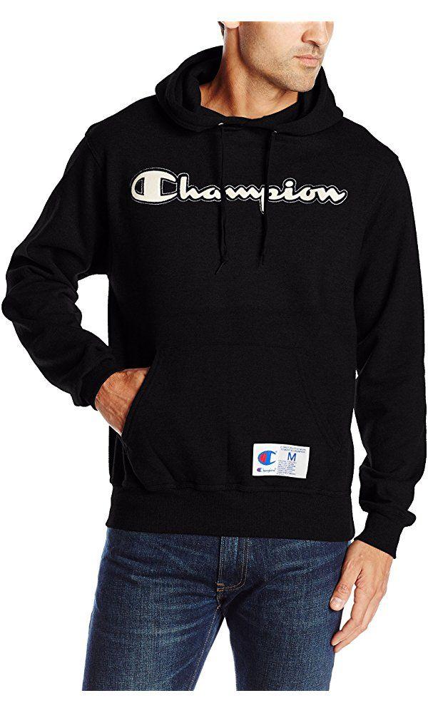 Champion Men's Retro Graphic Pullover Hoodie, Black, X-Large Best Price
