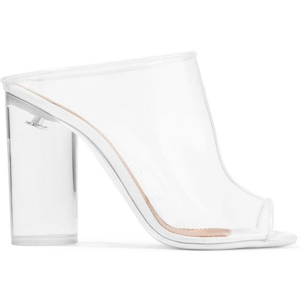 Givenchy Givenchy - Pvc Mules - White (€730) ❤ liked on Polyvore featuring shoes, pull on shoes, high heel shoes, clear high heel shoes, high heel mule shoes and mule shoes