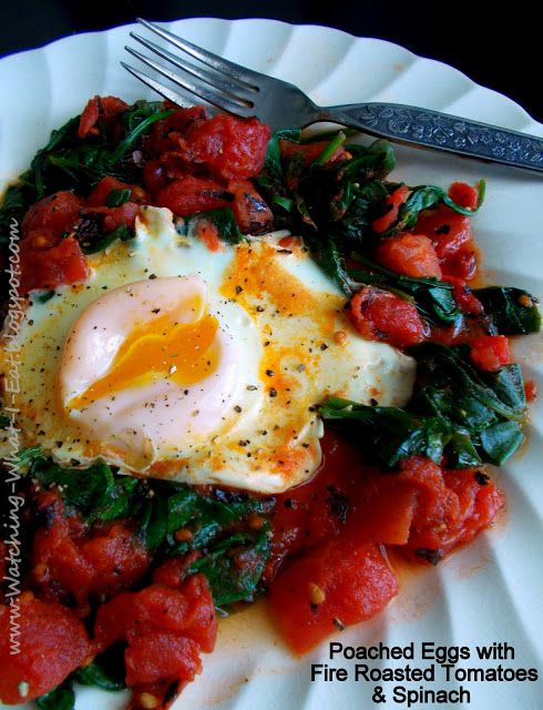 poached eggs with fire roasted tomatoes & spinach ~ Slimming World Breakfast idea? ~low carb and fat flush plan diet friendly~