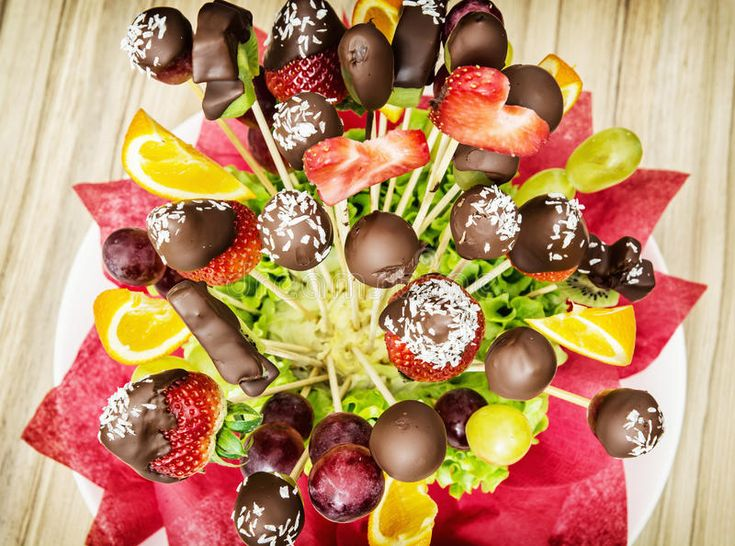 Photo about Tasty fruit bouquet with chocolate frosting. Gift for you. Special gift. Mother's day. Vibrant colors. Image of basket, bright, catering - 70874031