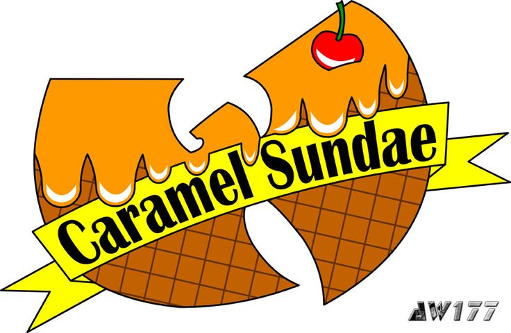 """""""Caramel Sundae"""" - a redesign of the infamous ice cream logo from the song, """"Ice Cream"""" for hip-hop star, Ghostface Killah. It was a great honor and pleasure for me when I was asked to redesign the ice cream logos for Ghostface Killah, a member of the Wu. If you have not heard the song before, go to YouTube and search """"Wu-Tang Ice Cream"""".  The logos are printed onto t-shirts for women and sold on GFK's official merchandise store."""
