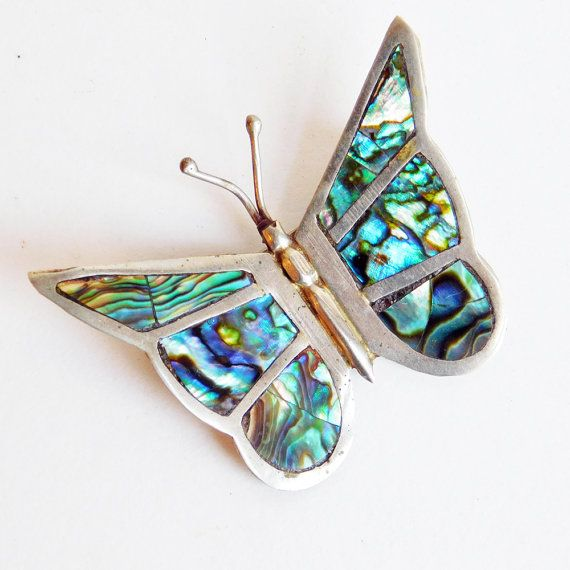 Vintage Mexican Silver Abalone Butterfly Brooch - Old Mexico Figural Pin - Mexican Jewelry - Insect Jewelry - Inlaid Shell Brooch
